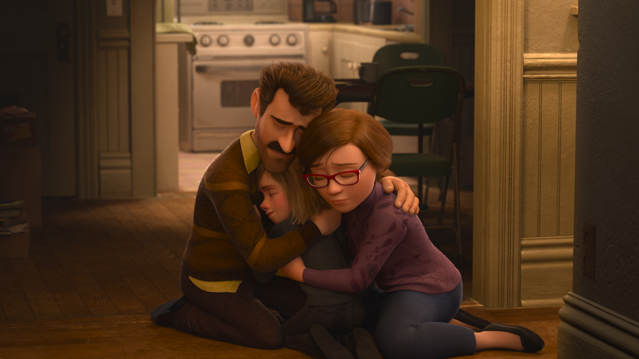 INSIDE OUT â€? Pictured (L-R: Riley's Dad, Riley Andersen, Riley's Mom. ©2015 Disney•Pixar. All Rights Reserved.