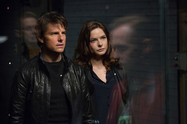 Left to right: Tom Cruise plays Ethan Hunt and Rebecca Ferguson plays Ilsa in Mission: Impossible � Rogue Nation from Paramount Pictures and Skydance Productions